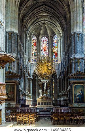 Inside Of The Catholic Church Of Saint Merri In Paris
