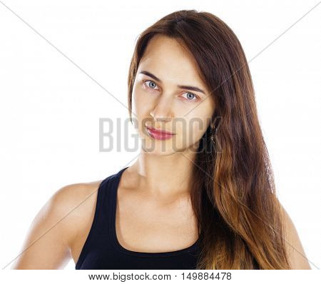 Portrait of a brunette woman without makeup, isolated on white background