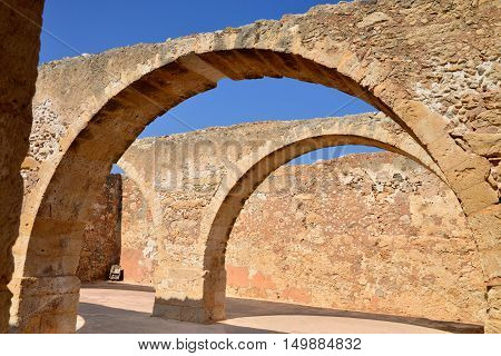 Rethymno city Greece Fortezza fortress arcade landmark architecture