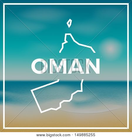 Oman Map Rough Outline Against The Backdrop Of Beach And Tropical Sea With Bright Sun.