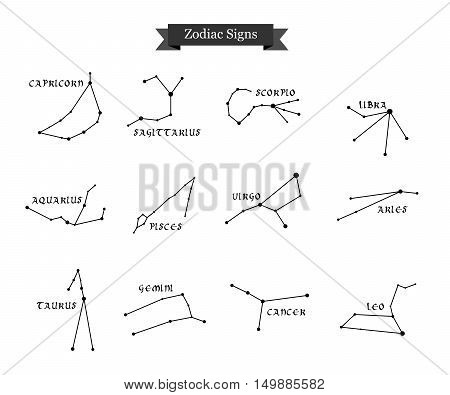 Illustration - set - with signs of zodiac in black.
