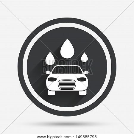 Car wash icon. Automated teller carwash symbol. Water drops signs. Circle flat button with shadow and border. Vector