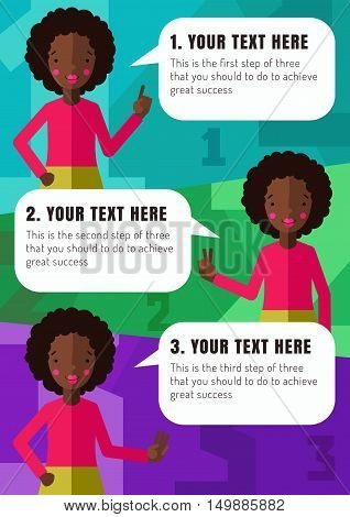 Three steps of realization your idea with African American girl cartoon illustration (vector).