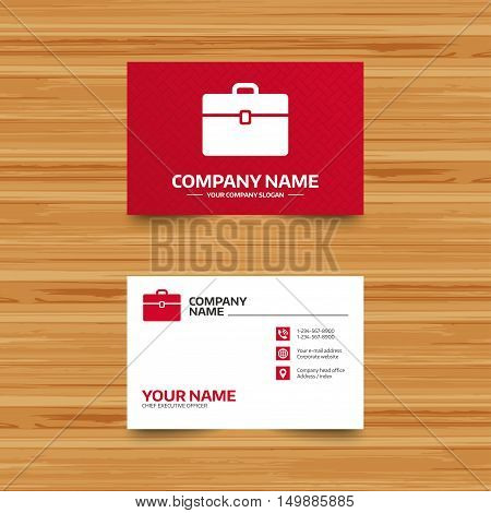 Business card template. Case sign icon. Briefcase button. Phone, globe and pointer icons. Visiting card design. Vector