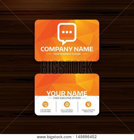 Business or visiting card template. Chat sign icon. Speech bubble with three dots symbol. Communication chat bubble. Phone, globe and pointer icons. Vector
