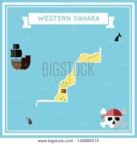Flat Treasure Map Of Western Sahara. Colorful Cartoon With Icons Of Ship, Jolly Roger, Treasure Ches