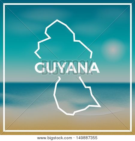 Guyana Map Rough Outline Against The Backdrop Of Beach And Tropical Sea With Bright Sun.