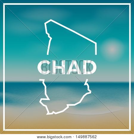 Chad Map Rough Outline Against The Backdrop Of Beach And Tropical Sea With Bright Sun.