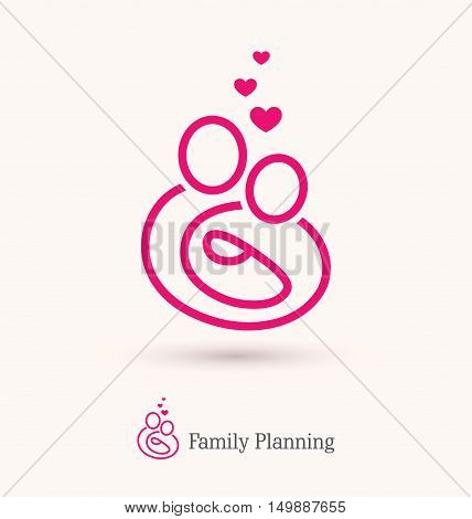 Abstract outline icon of young parents with a baby. Can be used as logo for a family planning or care concept womens health pregnancy help center etc.