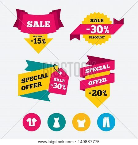 Clothes icons. T-shirt with business tie and pants signs. Women dress symbol. Web stickers, banners and labels. Sale discount tags. Special offer signs. Vector