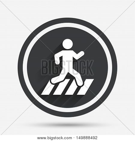 Crosswalk icon. Crossing street sign. Circle flat button with shadow and border. Vector
