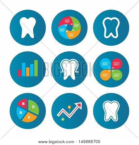 Business pie chart. Growth curve. Presentation buttons. Tooth enamel protection icons. Dental care signs. Healthy teeth symbols. Data analysis. Vector