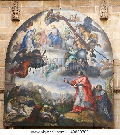 Plague In Milan With Carolus Borromeus - Painting In Salamanca Cathedral