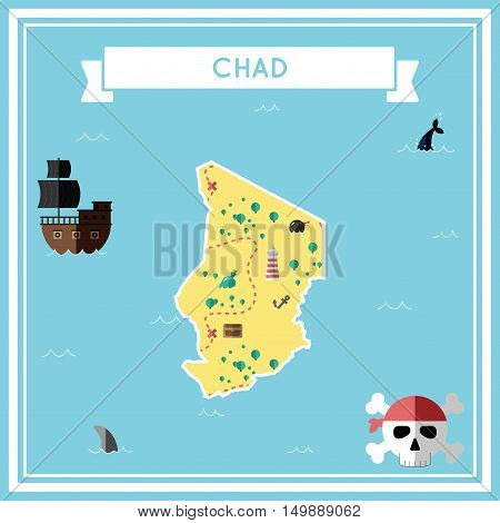 Flat Treasure Map Of Chad. Colorful Cartoon With Icons Of Ship, Jolly Roger, Treasure Chest And Bann