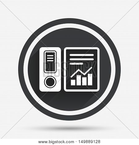 Document folder sign. Accounting binder symbol. Bookkeeping management. Circle flat button with shadow and border. Vector
