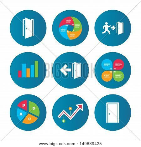 Business pie chart. Growth curve. Presentation buttons. Doors icons. Emergency exit with human figure and arrow symbols. Fire exit signs. Data analysis. Vector