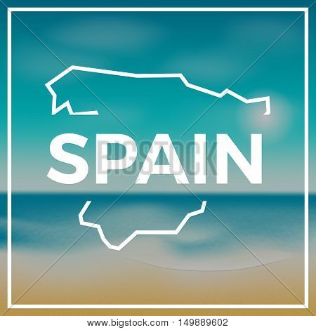 Spain Map Rough Outline Against The Backdrop Of Beach And Tropical Sea With Bright Sun.