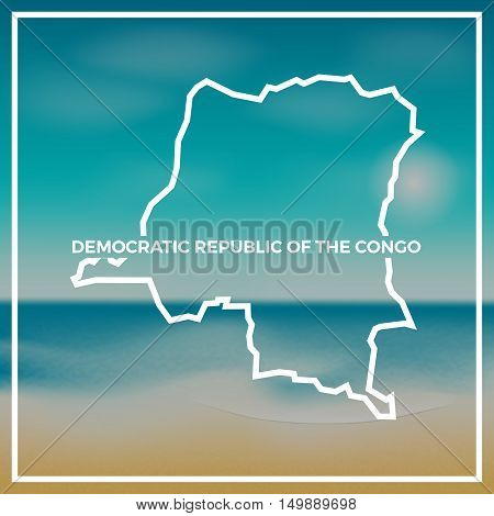 Congo, The Democratic Republic Of The Map Rough Outline Against The Backdrop Of Beach And Tropical S