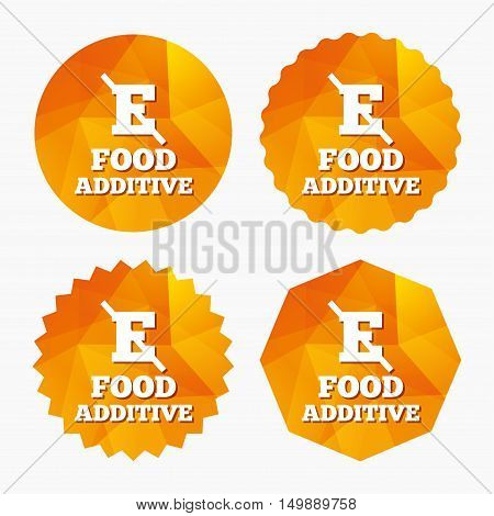 Food additive sign icon. Without E symbol. Healthy natural food. Triangular low poly buttons with flat icon. Vector