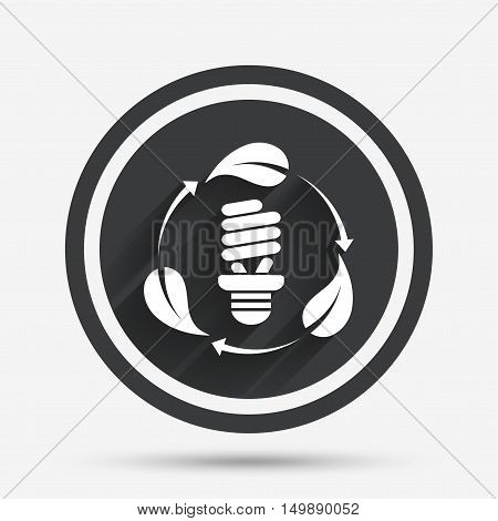 Fluorescent lamp bulb with leaves sign icon. Energy saving. Economy symbol. Circle flat button with shadow and border. Vector