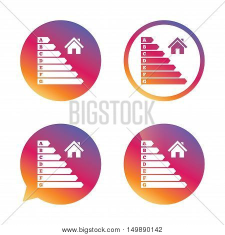 Energy efficiency icon. Electricity consumption symbol. House building sign. Gradient buttons with flat icon. Speech bubble sign. Vector