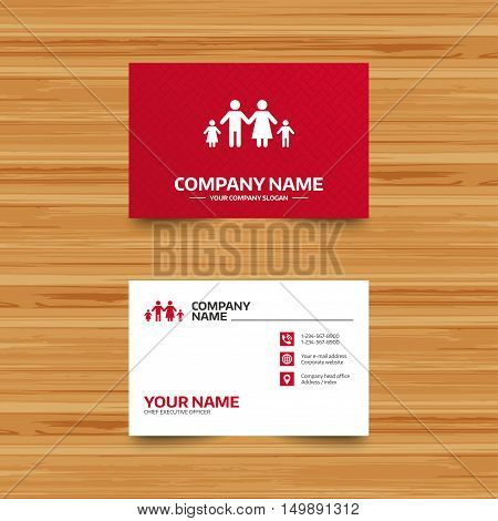 Business card template. Family with two children sign icon. Complete family symbol. Phone, globe and pointer icons. Visiting card design. Vector