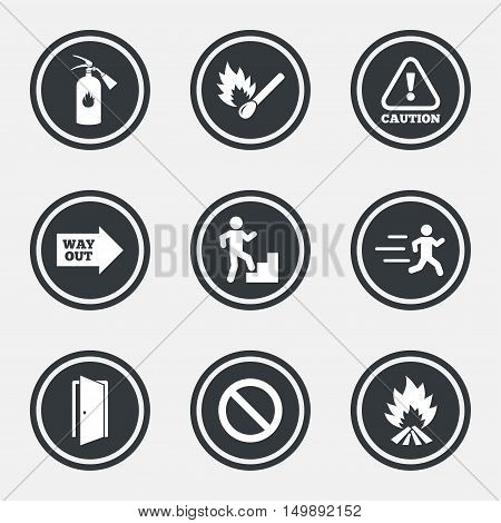 Fire safety, emergency icons. Fire extinguisher, exit and attention signs. Caution, water drop and way out symbols. Circle flat buttons with icons and border. Vector