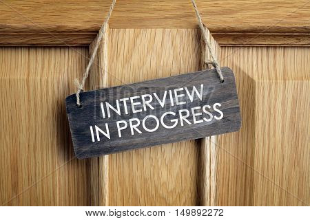 Interview room door concept for recruitment or medical checkup with a consultant
