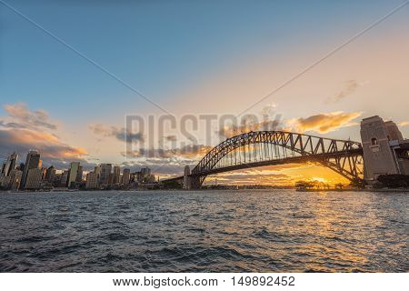 Sunset on the Sydney Harbour Sydney Australia.Oct 03,2016 Sydney Harbour is beautiful meandering waterway,famous around the word.