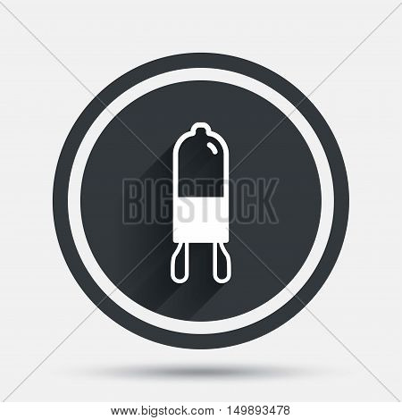 Light bulb icon. Lamp G9 socket symbol. Led or halogen light sign. Circle flat button with shadow and border. Vector