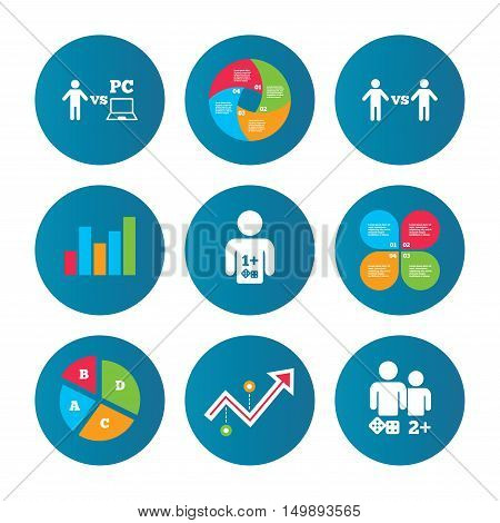Business pie chart. Growth curve. Presentation buttons. Gamer icons. Board and PC games players signs. Player vs PC symbol. Data analysis. Vector