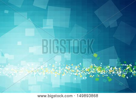Computer generated blue background with shapes, blurs, motion an light effects
