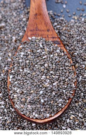 Spoon with chia seeds on slate closeup