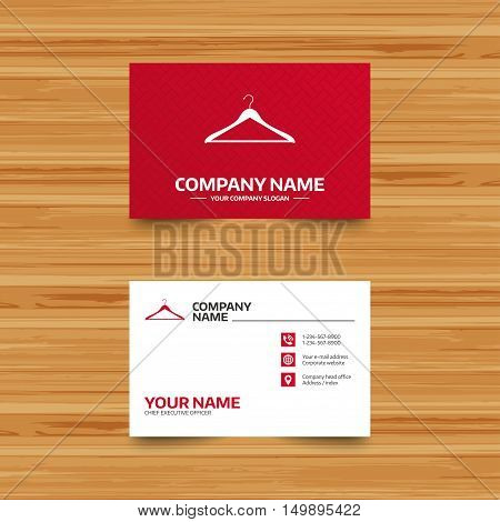 Business card template. Hanger sign icon. Cloakroom symbol. Phone, globe and pointer icons. Visiting card design. Vector