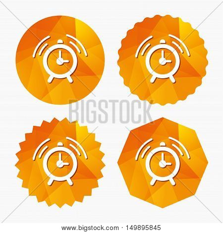 Alarm clock sign icon. Wake up alarm symbol. Triangular low poly buttons with flat icon. Vector