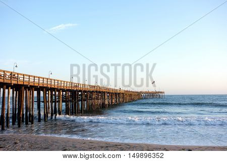 Historic wooden pier in city of San Buena Ventura Southern California
