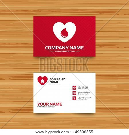 Business card template. Blood donation sign icon. Medical donation. Heart with blood drop. Phone, globe and pointer icons. Visiting card design. Vector