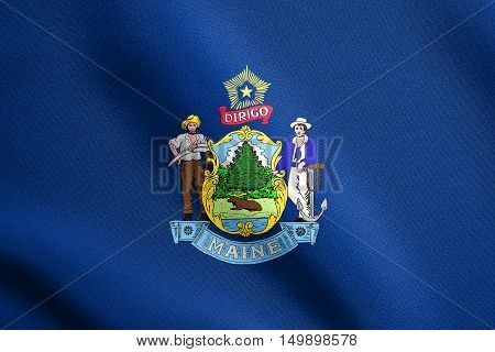 Mainer official flag symbol. American patriotic element. USA banner. United States of America background. Flag of the US state of Maine waving in the wind with detailed fabric texture, illustration