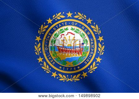 New Hampshirite official flag symbol. American patriotic element. USA banner. United States of America background. Flag of the US state of New Hampshire waving in wind with detailed fabric texture, illustration