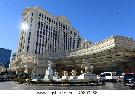 LAS VEGAS - DEC 26: Caesars Palace is a luxury resort and casino on Las Vegas Strip on Dec 26, 2015 in Las Vegas, Nevada, USA. The hotel is one of the largest landmarks with Roman Empire style.