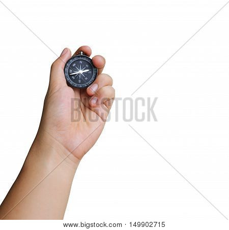 hand of a man holding a compass on white background and have clipping paths to easy deployment.
