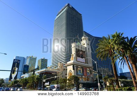 LAS VEGAS - DEC 26: Cosmopolitan of Las Vegas (Cosmo) is a luxury resort and casino opened in 2010 on Las Vegas Strip on Dec. 26, 2015 in Las Vegas, Nevada, USA.