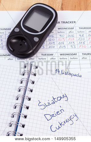 Polish Inscription World Diabetes Day In Notebook, Results Of Measurement Of Sugar