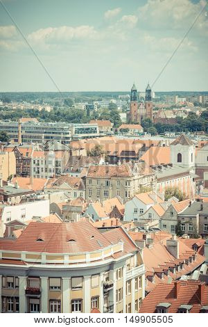 Poznan, Poland - June 28, 2016: Vintage Photo, View On Old Or Modern Buildings In Town Poznan
