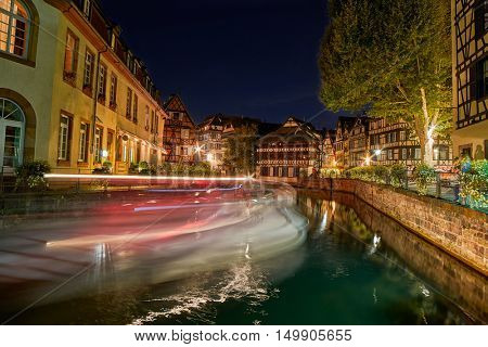 Traditional Half-timbered houses in Strasbourg Petite France district at night