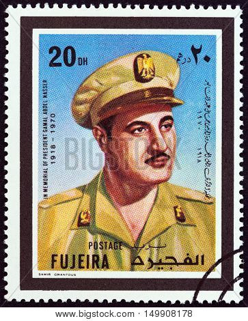 FUJAIRAH EMIRATE - CIRCA 1970: A stamp printed in United Arab Emirates shows President of Egypt Gamal Abdel Nasser 1918-1970, circa 1970.