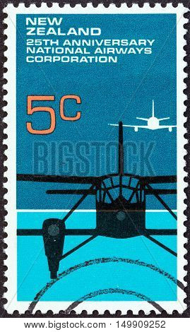 NEW ZEALAND - CIRCA 1972: A stamp printed in New Zealand issued for the 25th anniversary of National Airways Corporation shows De Havilland D.H.89 Dragon Rapide and Boeing 737, circa 1972.