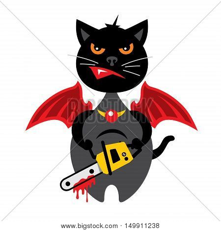 Kitten with a bloody chainsaw. Isolated on a White Background