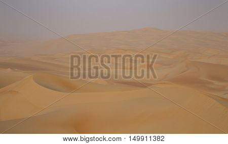 Massive sand dunes of the Emty Quarter desert covering large area in UAE KSA and Oman