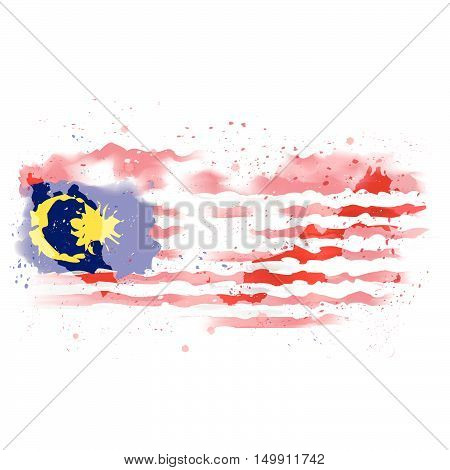 vector map of Malaysia Water color paint